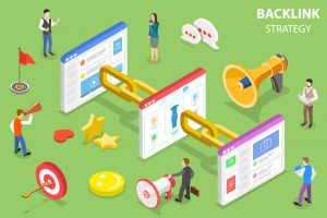 Isometric flat concept of backlink strategy, SEO link building, digital marketing campaign.